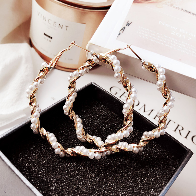 Xus Pearl twisted hoop earrings Europe and America exaggerated earrings <strong>jewelry</strong> factory wholesale
