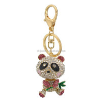 handy and custom zinc alloy gold plating multicolor crystal panda animal pendant jewelry key ring