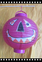 supply hand made colorful pumpkin shaped fabric/paper lantern with battery for Halloween use