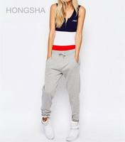 Women Logo Print Zip Front Color Block Colorful Bodysuit Blouse HSB2304