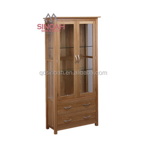 903 Solid oak UK hot-selling glass display cabinet/ living room furniture