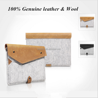 Accept Customer's Own Design Simple Style Wool Felt & genuine leather sleeve Case For apple ipad air 2 bags For 9.7 inch Tablet