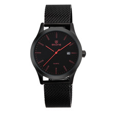 Latest Wholesale Elegant Woven Stainless IP black Steel Band Men Watch