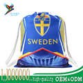 Wholesale custom cheap sports gym bag 2018 world cup gifts Sweden drawstring backpack