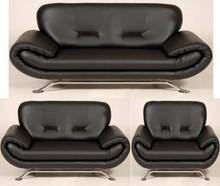 NENA 3 SEATER AND 2 SEATER AND 1 CHAIR SOFA BLACK FAUX LEATHER