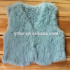 YR496 Children's Knitted Rabbit Fur Waistcoat Girl's Real Rabbit Fur Vest
