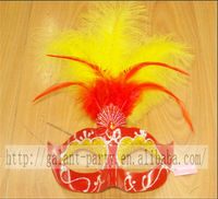 Factory Cheap 2014 Woman Masquerade Red Feather Mask Carnival Half Face Dance Mask for all party and festival