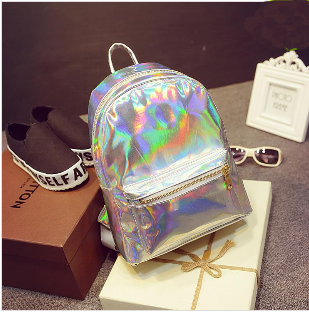 2015 New Hologram Laser Backpack Girl School Bag Shoulder Women Rainbow Colorful Metallic Silver Laser Holographic Backpack