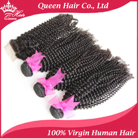 100% Unprocessed Queen Hair Virgin Brazilian Kinky Curly hair 3pcs + 1pc lace closure DHL free shipping