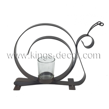 Garden decoration grey metal snail candle holder