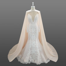 Sexy Mermaid Long Sleeve Wedding Dress With Bridal Cape Custom Made In China