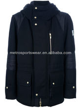 2013 high quality men's wool padded hooded jacket