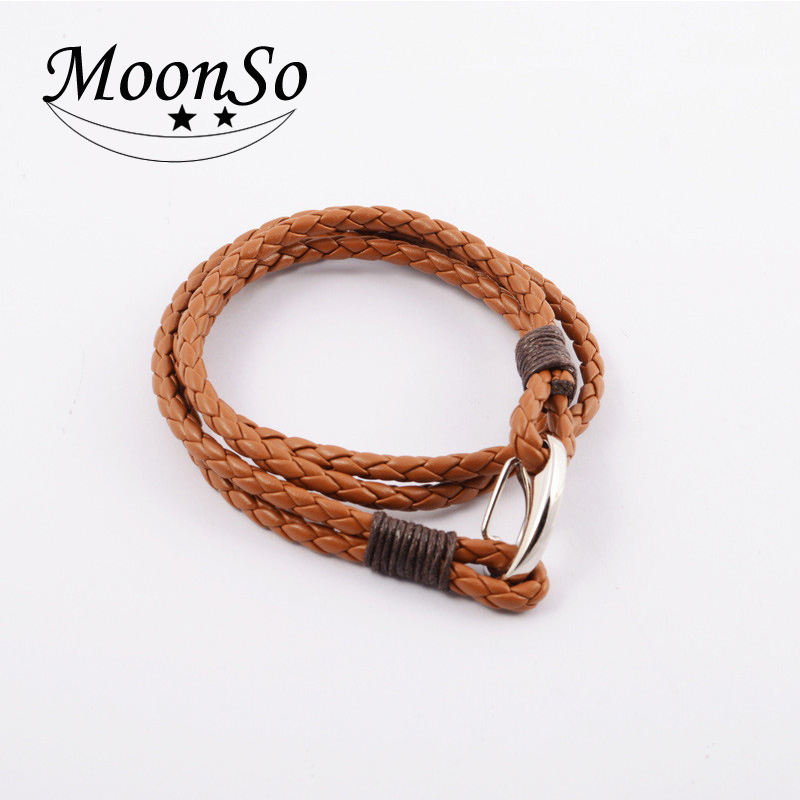Fashion Jewelry Wholesale!!2017 NEW Stainless Steel Jewelry Punk Braid Leather Bracelet with Lobster Clasp for Men MoonSo KS2802