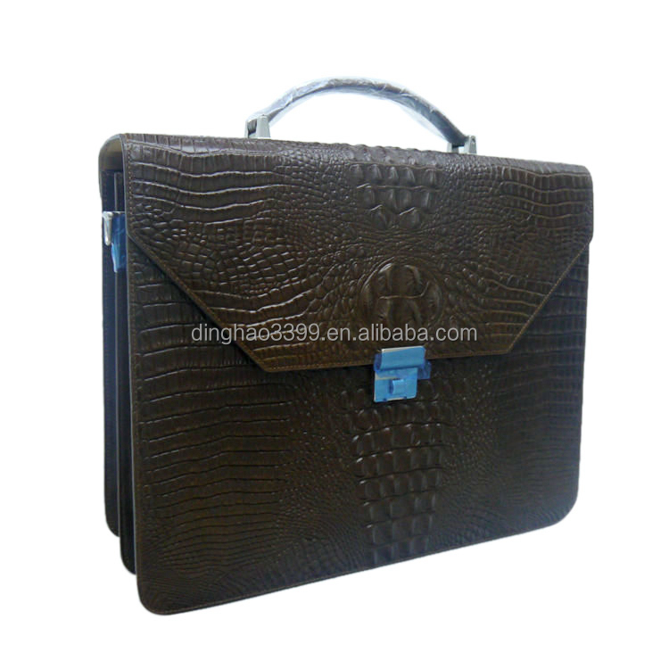 Dongguan handbag manufacturer product crocodile bag men brown genuine leather messenger bag men