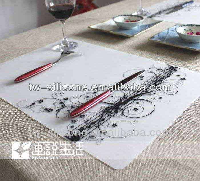 silicone semi clear material rubber placemat/heat protection silicone placemat