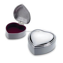 Heart shaped Hinged Lid Metal Jewelry Box with Velvet