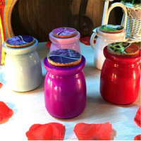 round glass jars with wooden lids glass bottle glass candle holder for home decoration
