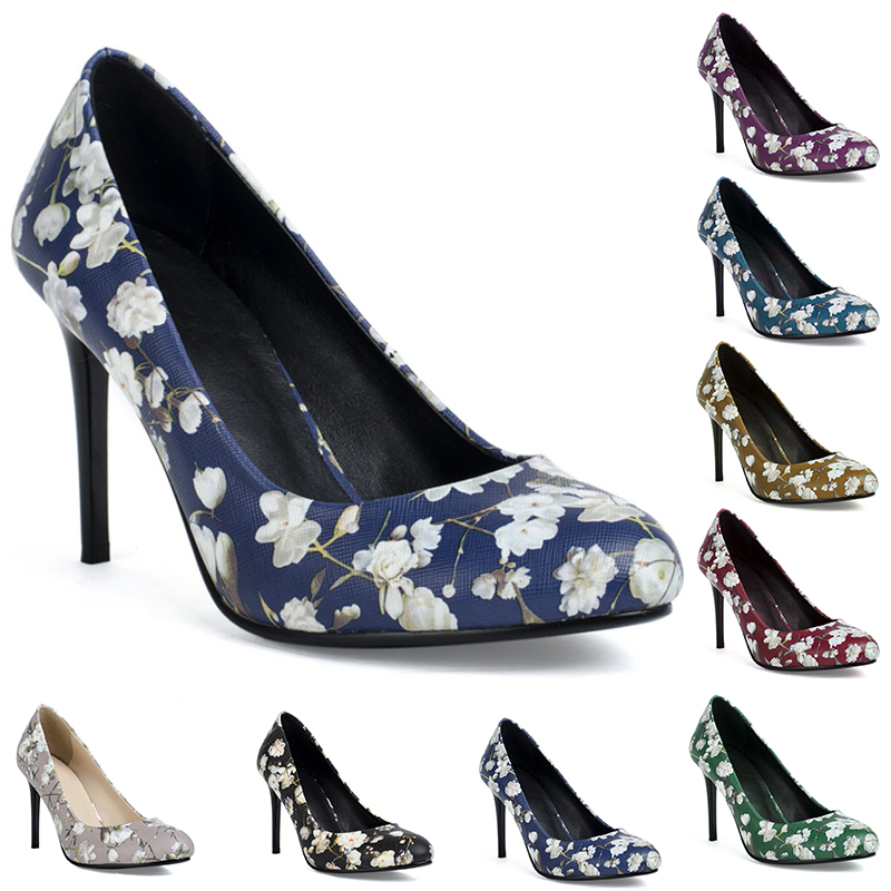 New arrival popular made in china print flower high heel shoes for women