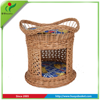 Pet house animal willow basket lined wicker basket