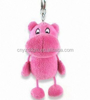 plush hippo keychain/plush cute soft animal keyring/live animal keychain