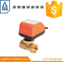 SR205 hot sale 1/2'' AC24V brass 2-way motorized ball valve, 3 wires electric motor valve