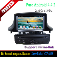 android 4.4 gps navigation for Renault megane 2014 quad core capacitive screen bluetooth 3g wifi mirror-link hotspot radio dvd