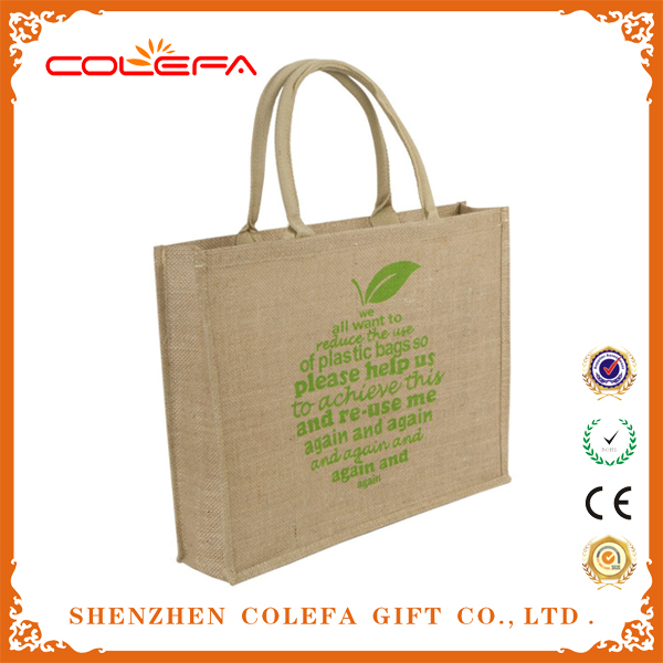 Factory Direct Organic Reusable EcoJute Market Bags with Printed Logo