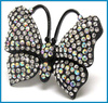 latest design gun black animal shape butterfly stones stretch ring