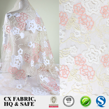 Newest design embroidered tulle fabric for party dress malaysia embroidery mesh fabric