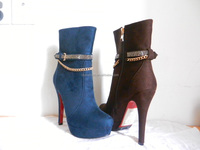 YX47 2014 flat PU high heel comfort fashon woman cover outside platform metal chain decor boots