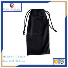 2017 HOT SELLING small black microfiber custom glasses pouch with drawstring cutom sunglasses pouch