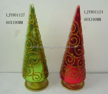 Hand blown xmas glass christmas trees ornaments with lights led
