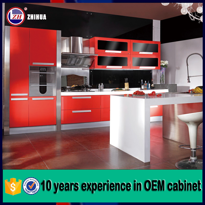 high gloss red portable kitchen pantry with glass door