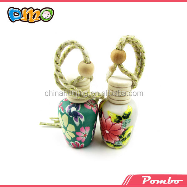 attractive colorful polymer clay empty air fresh car perfume bottle