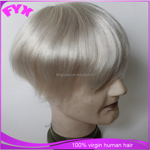 Natural hairline human hair toupee finemono filament base design grey hair men toupee