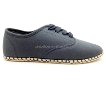 navy canvas upper flat rope-sole sneaker 2016 women casual shoes