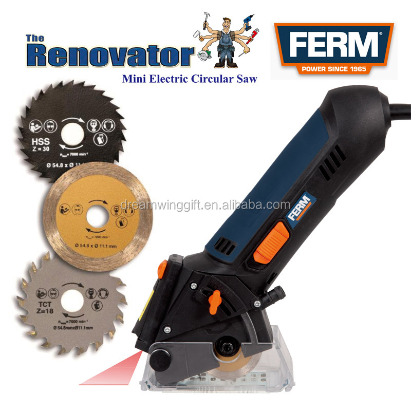 TVH-10374 3 Blades FERM Power Precision Circular Saw, The Renovator Mini Electric Circular Saw