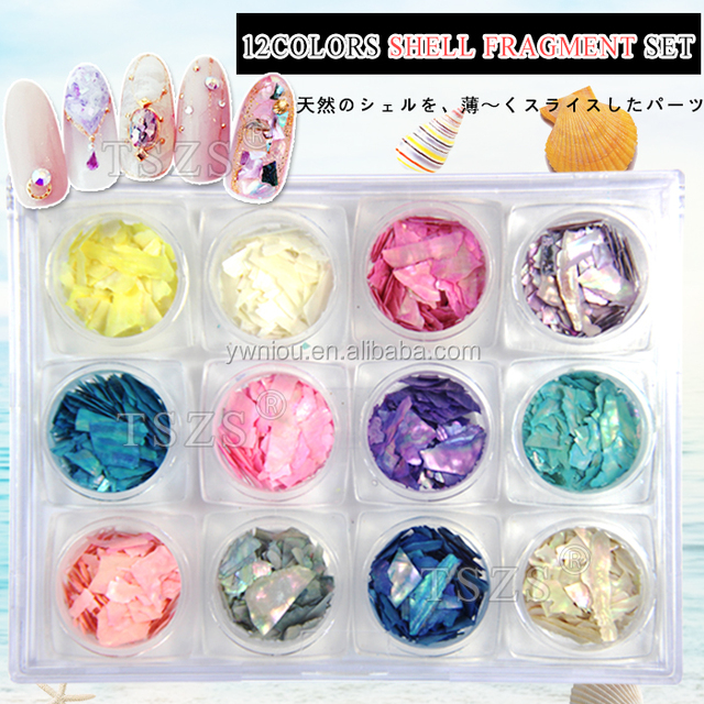 colorful thin shell paper nail Shell sticker Fragment Set Suppliers