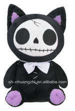 Furry Bones Black Kitty Cat Skeleton Plush Skull Stuffed Animal