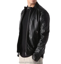 men's cow leather jacket with sponge quilting