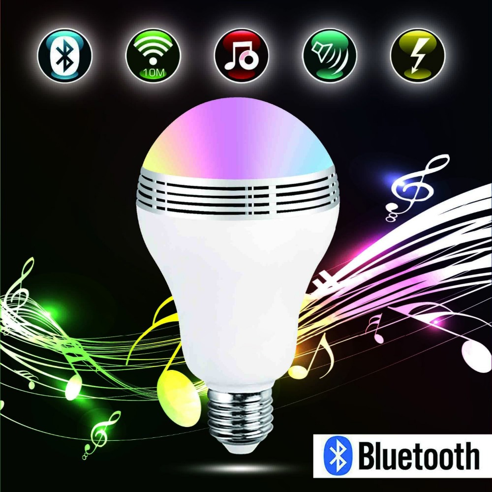Wireless APP Bluetooth 4.0 Speaker Smart LED Night Light E27 RGB Led Light Bulb Color Changing/Music Player Lighting Lamp