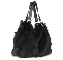 Pure Color black Fox Fur Bag/More Dyed Color Available/Size Adjustable