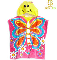 Animal Print Butterfly Hooded baby bath towel