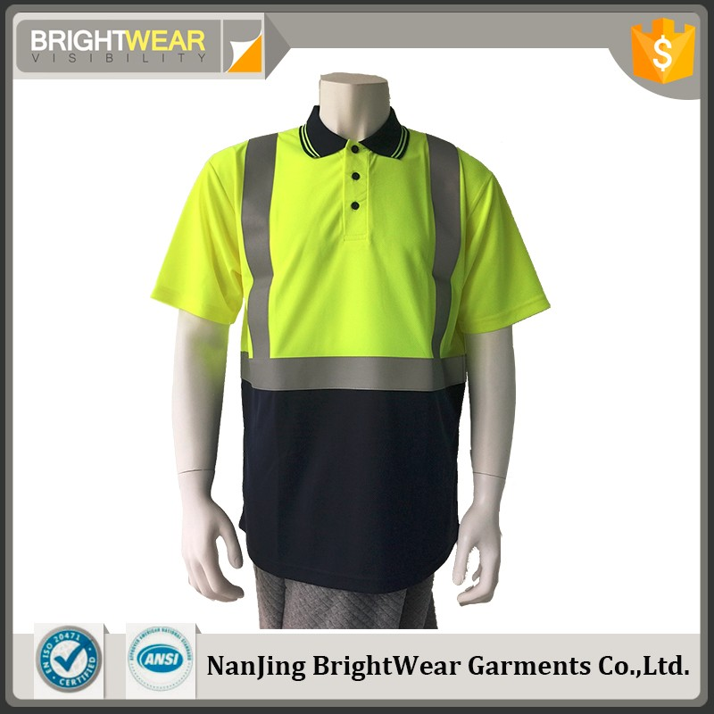 Mens two-tone flame retardant fluorescent reflective sew-on tape workwear safety polo shirt