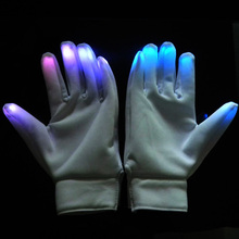 Glow in the dark white led gloves for concert