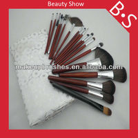 19pcs best seller natural hair makeup brush set,wood handle makeup brush sets,leather bag package