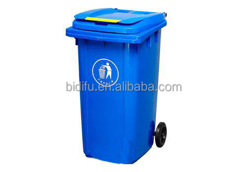 120l large HDPE green plastic dustbin waste bin trash bin price with two wheels and lid China supplier