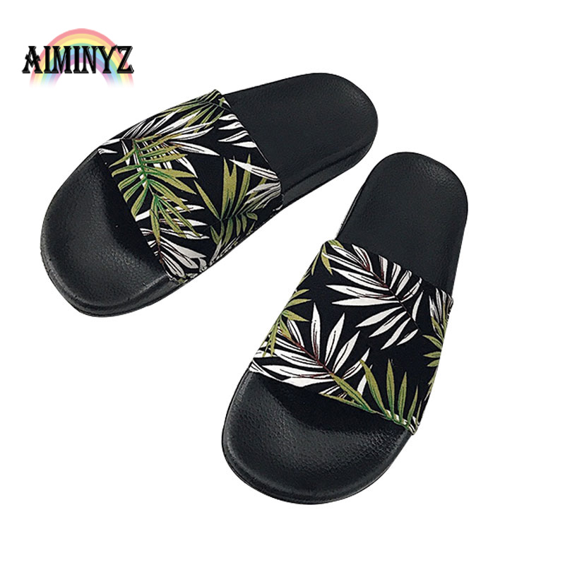 Fashion Beach Coconut Tree Slippers Summer Vacation Leisure Sandals Women Shoes Outside <strong>Slides</strong> Funny Bathroom Floor Cool Female