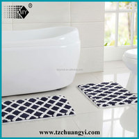 black and white 2pcs set water absorb bath mat