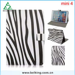 Hot Selling Zebra Series Leather Case Stand For Ipad Mini, For Ipad Mini 4 PU Case, For Ipad Mini Retina Zebra Case